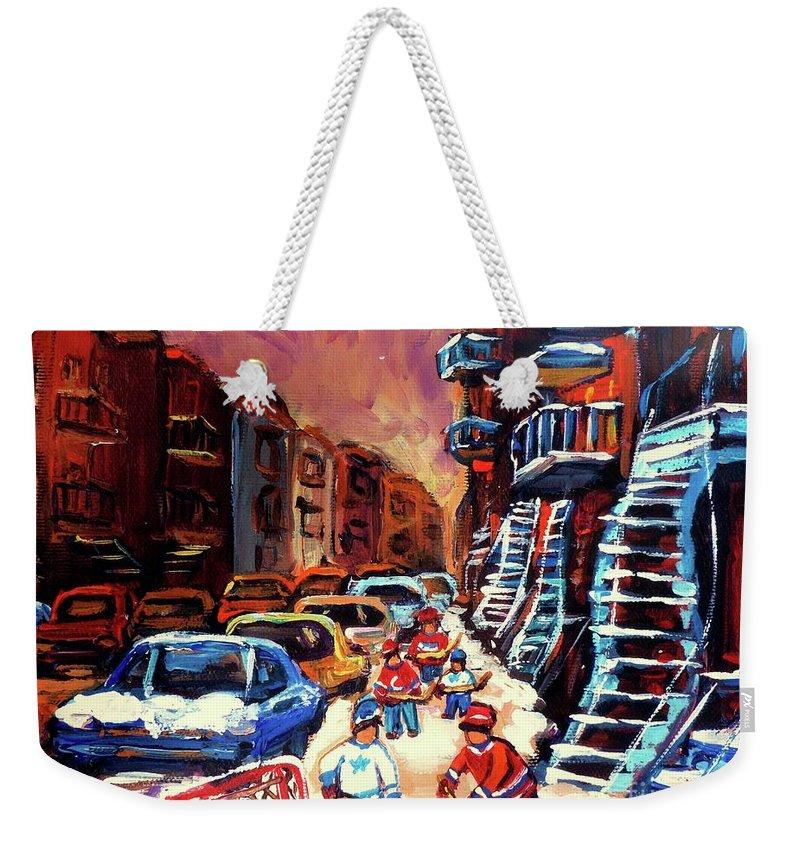 Montreal Weekender Tote Bag featuring the painting Hockey Paintings Of Montreal St Urbain Street Winterscene by Carole Spandau