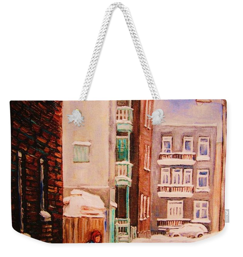Hockey Weekender Tote Bag featuring the painting Hockey Practice by Carole Spandau
