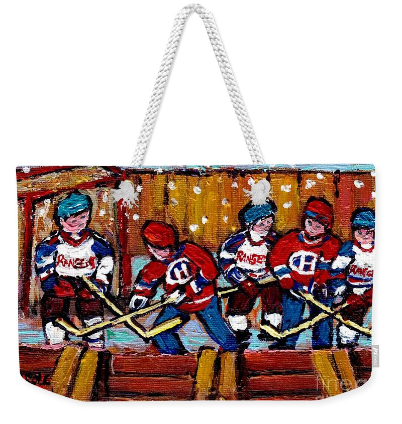 Hockey Weekender Tote Bag featuring the painting Hockey Rink Paintings New York Rangers Vs Habs Original Six Teams Hockey Winter Scene Carole Spandau by Carole Spandau