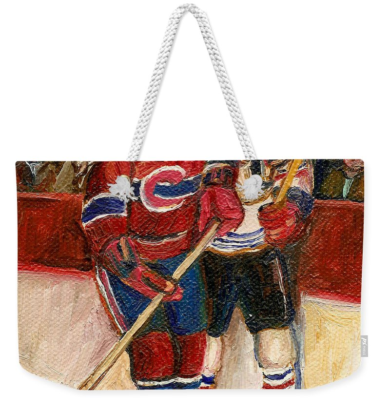 Hockey Weekender Tote Bag featuring the painting Hockey Stars At The Forum by Carole Spandau