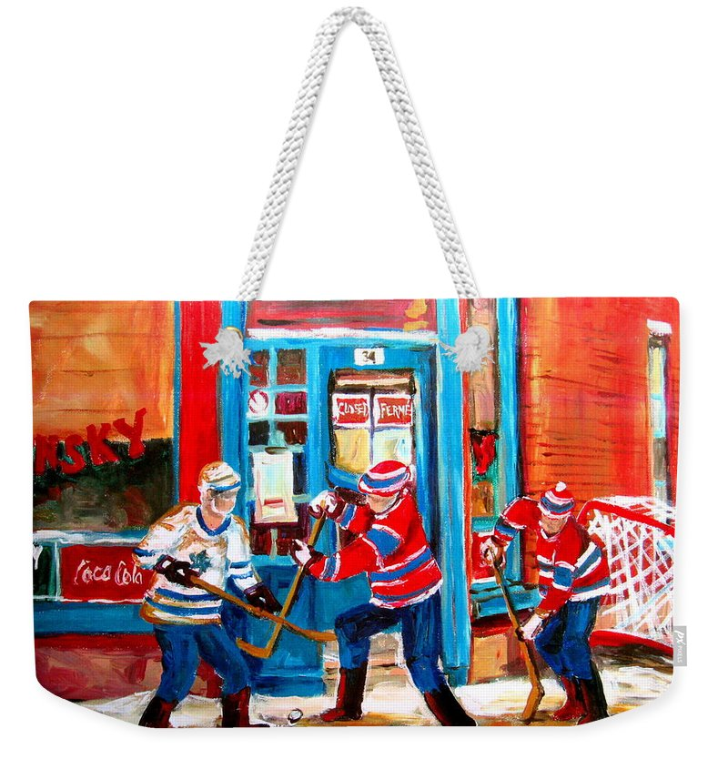 Wilenskys Weekender Tote Bag featuring the painting Hockey Sticks In Action by Carole Spandau