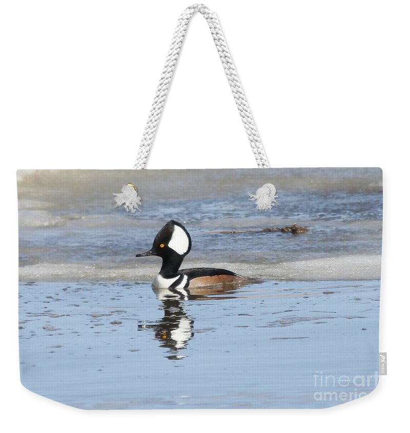 Hodded Weekender Tote Bag featuring the photograph Hodded Merganser With Reflection by Lori Tordsen
