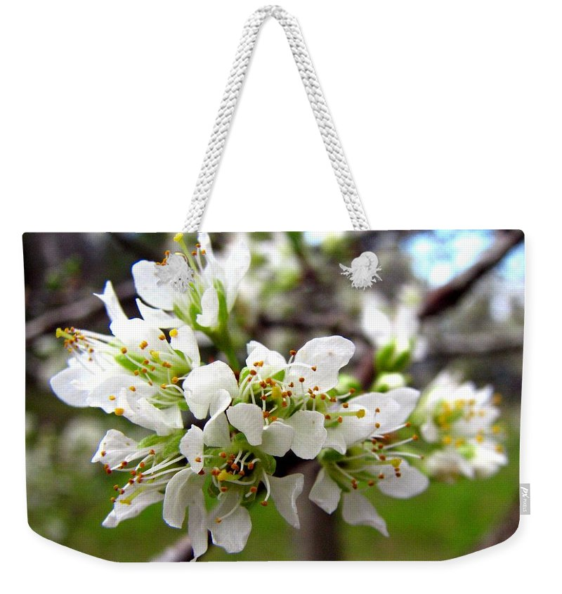 Hog Plum Weekender Tote Bag featuring the photograph Hog Plum Blossoms by J M Farris Photography