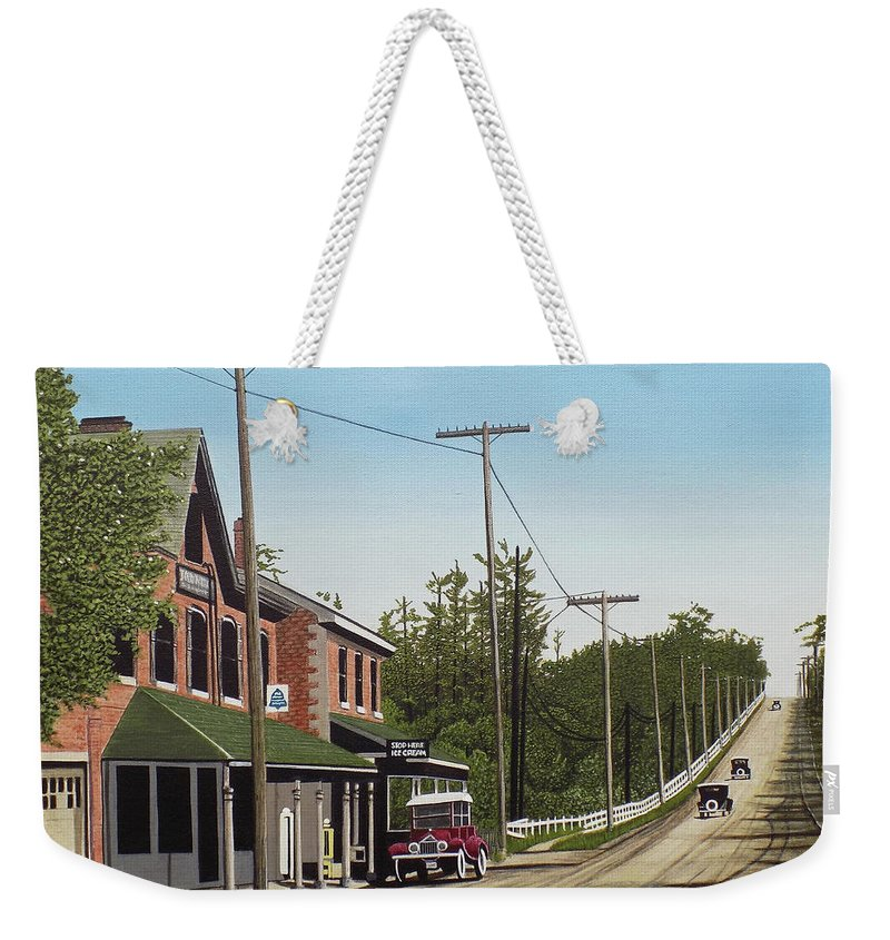 Streetscapes Weekender Tote Bag featuring the painting Hoggs Hollow Toronto 1920 by Kenneth M Kirsch