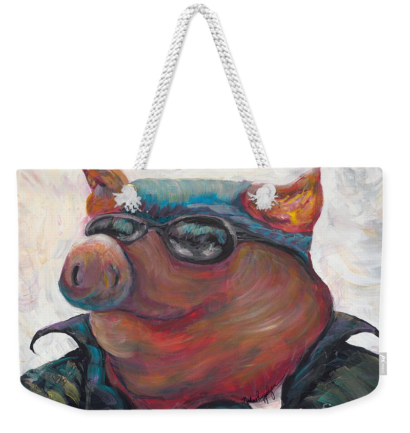 Hog Weekender Tote Bag featuring the painting Hogley Davidson by Nadine Rippelmeyer