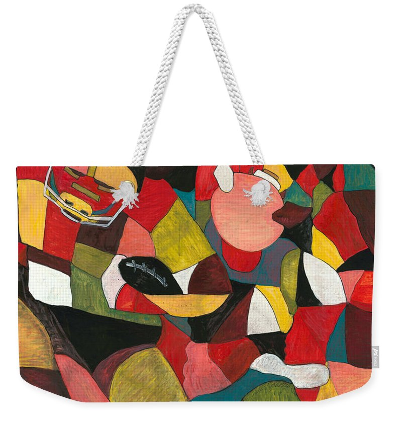 Hog Weekender Tote Bag featuring the painting Hogs Hoops And A Pigskin by Nadine Rippelmeyer