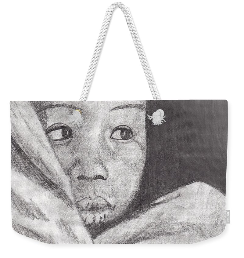 Child Weekender Tote Bag featuring the drawing Hold Me Mom by Jean Haynes