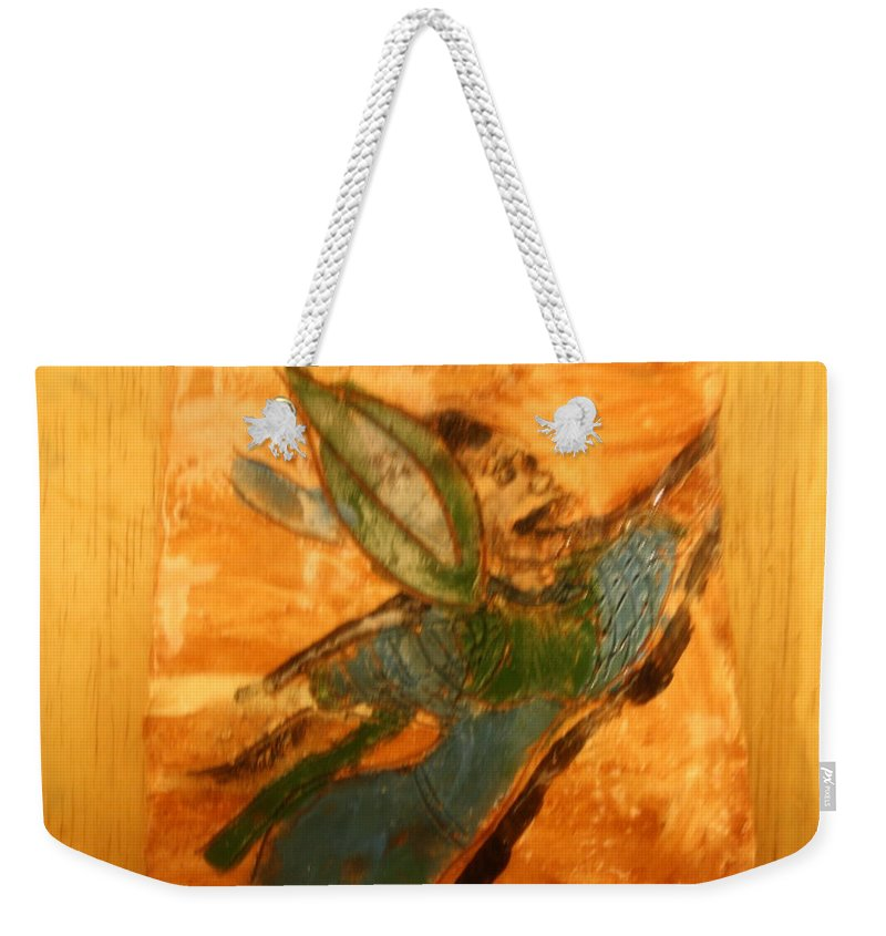 Jesus Weekender Tote Bag featuring the ceramic art Hold On - Tile by Gloria Ssali