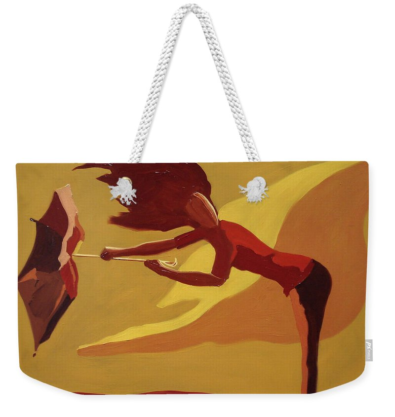 Woman Weekender Tote Bag featuring the painting Hold On by Barbara Andolsek