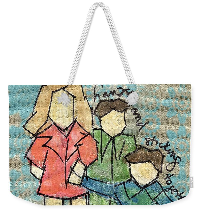 Kids Weekender Tote Bag featuring the painting Holding Hands And Sticking Together by Hew Wilson