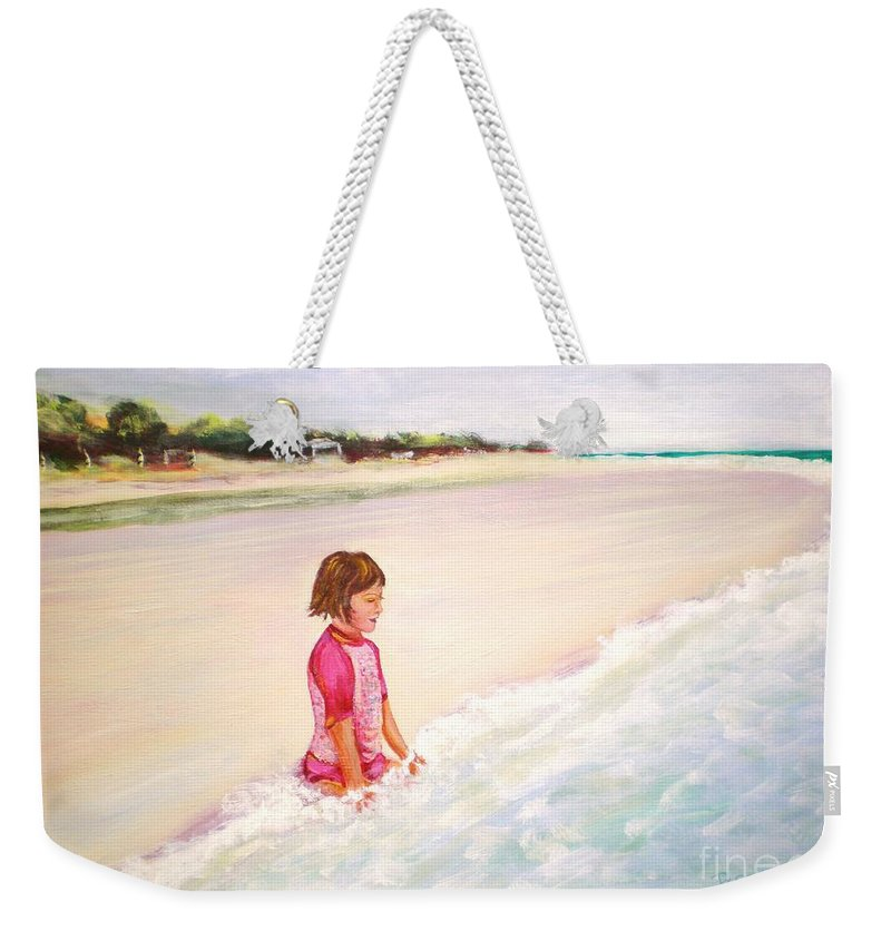 Little Girl Weekender Tote Bag featuring the painting Holding The Ocean by Patricia Piffath