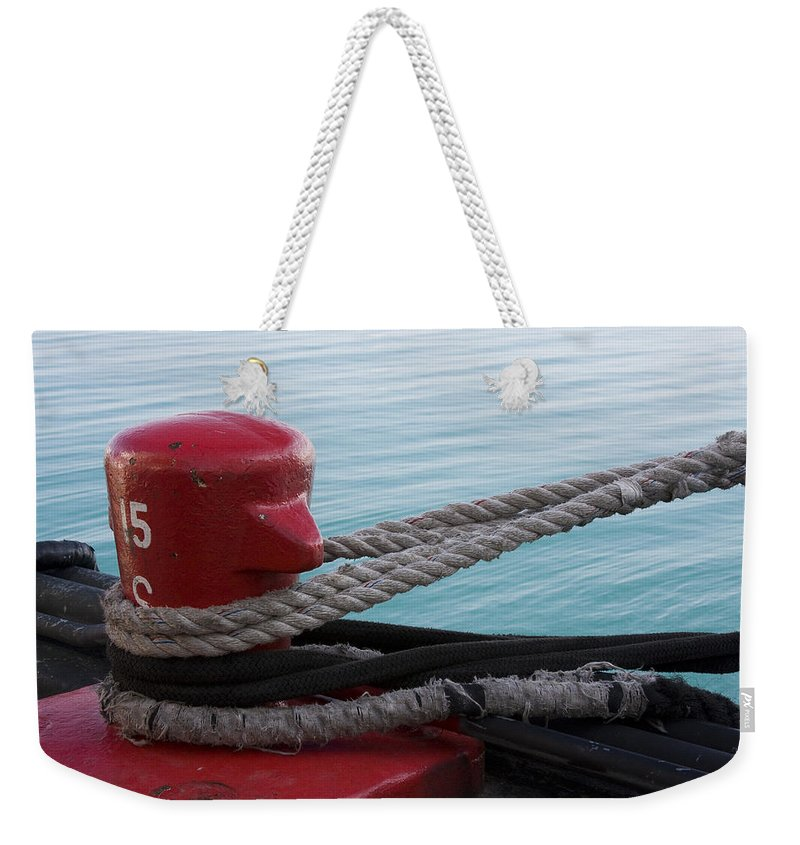 Chicago Windy City Navy Pier Lake Michigan Water Red Blue Wave Rope Ship Boat Weekender Tote Bag featuring the photograph Holding Tight by Andrei Shliakhau