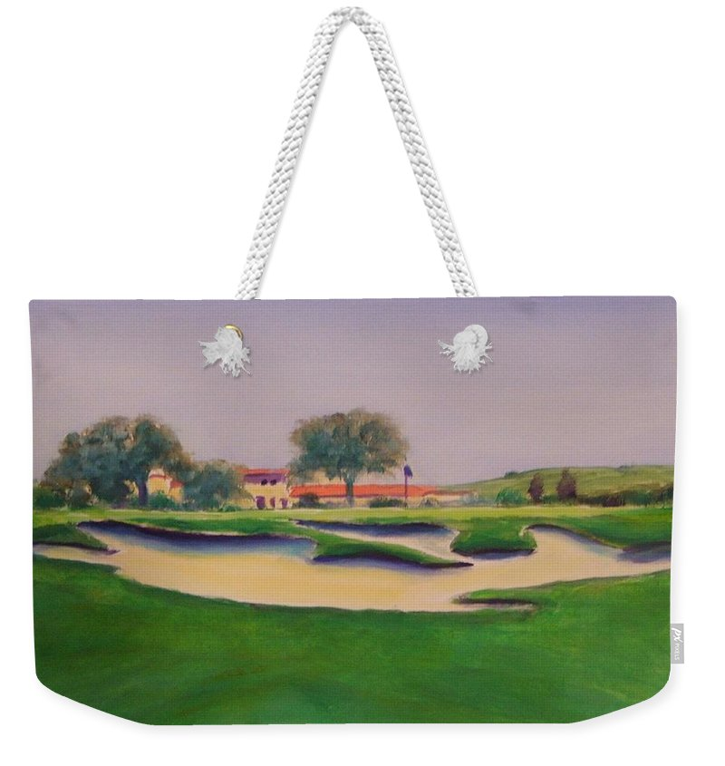 Golf Weekender Tote Bag featuring the painting Hole 18 Safe Passage by Shannon Grissom