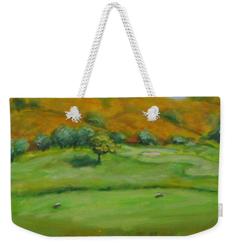 Golf Weekender Tote Bag featuring the painting Hole 4 Outward Bound by Shannon Grissom