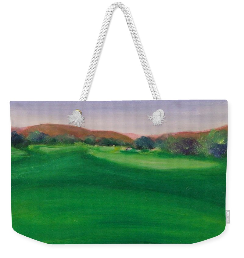 Golf Weekender Tote Bag featuring the painting Hole 5 San Justo by Shannon Grissom