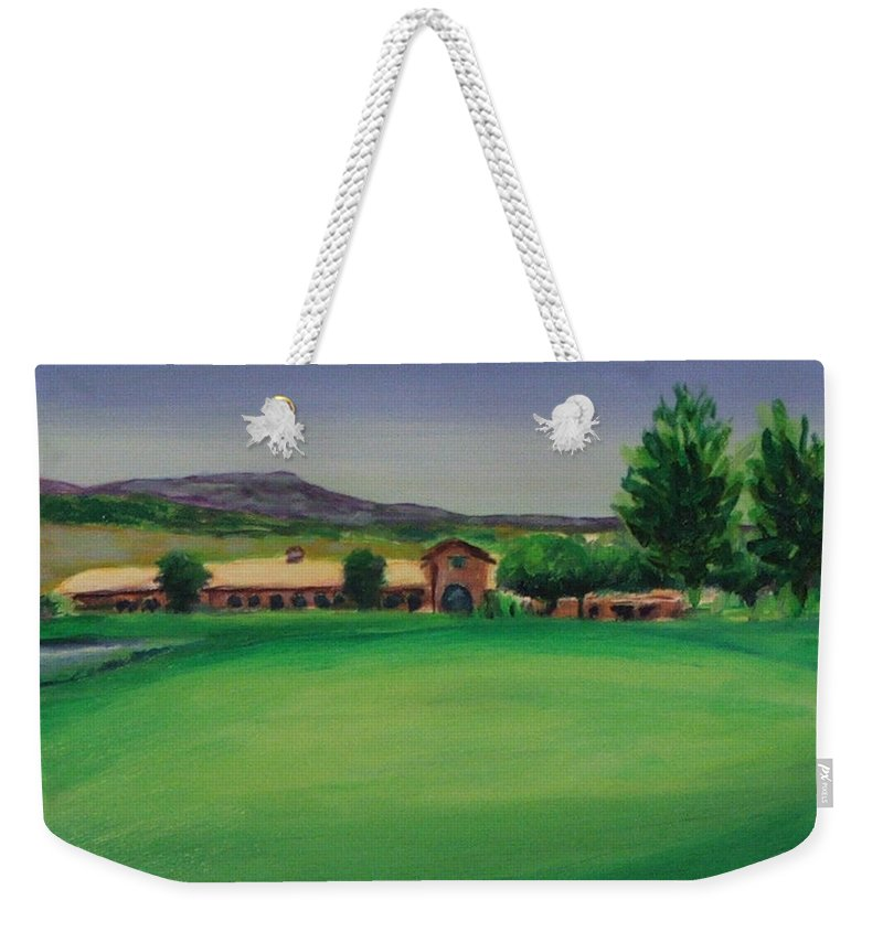 Golf Weekender Tote Bag featuring the painting Hole 9 Entrapment by Shannon Grissom