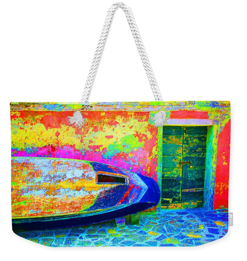 Digital Pastel Weekender Tote Bag featuring the digital art Hole In The Boat by Donna Corless