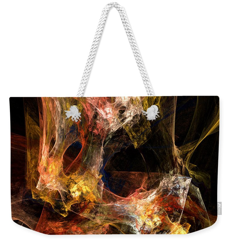 Abstract Weekender Tote Bag featuring the digital art Holes by Ruth Palmer