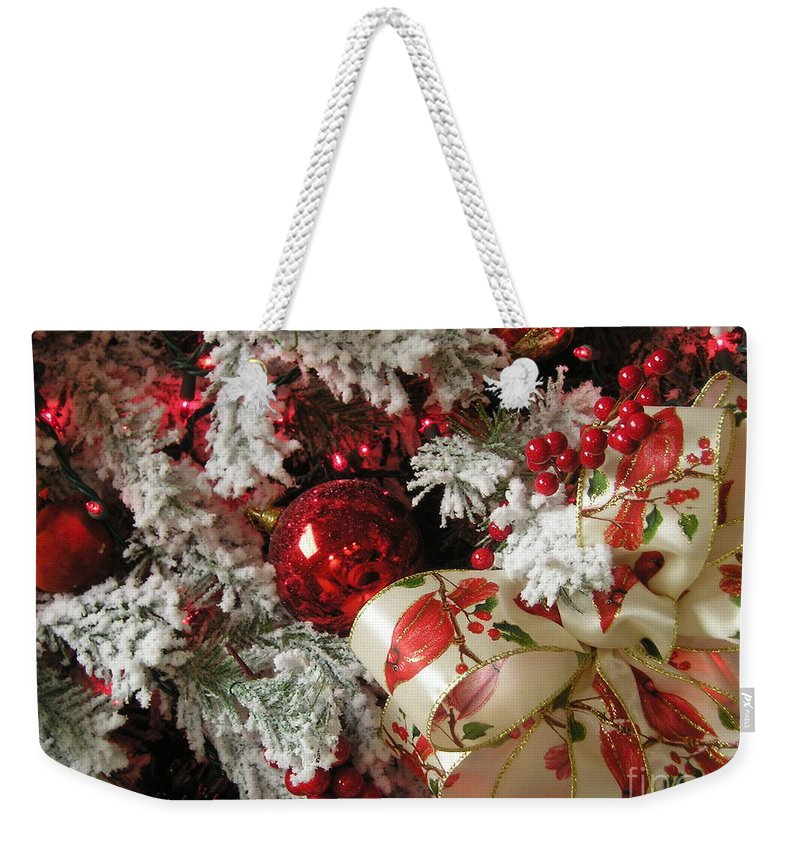 Tree Weekender Tote Bag featuring the photograph Holiday Cheer I by Maria Bonnier-Perez