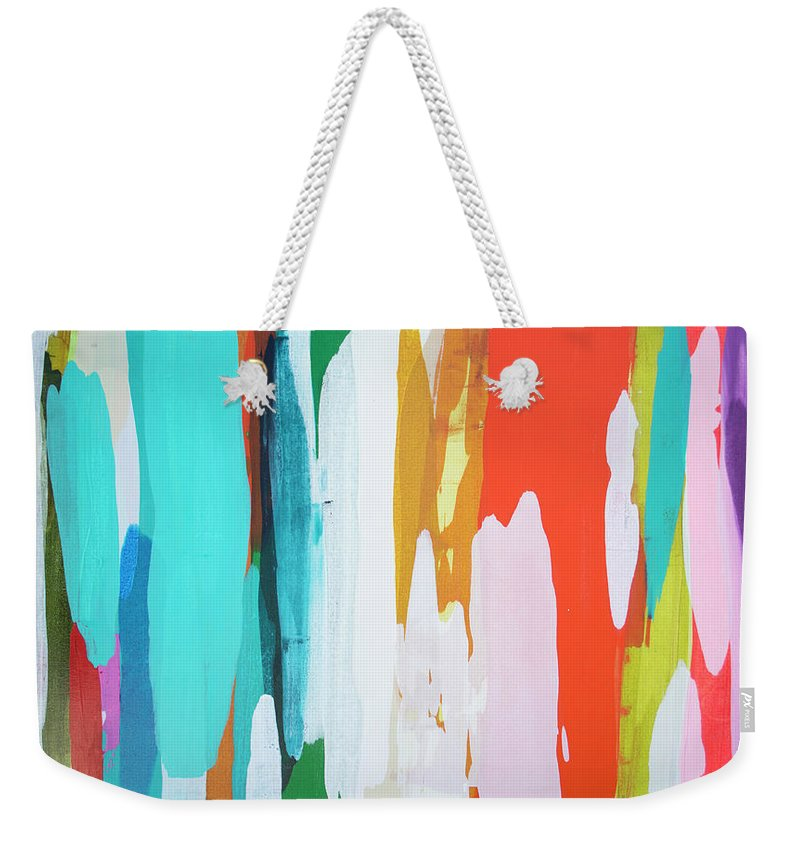 Abstract Weekender Tote Bag featuring the painting Holiday Everyday by Claire Desjardins