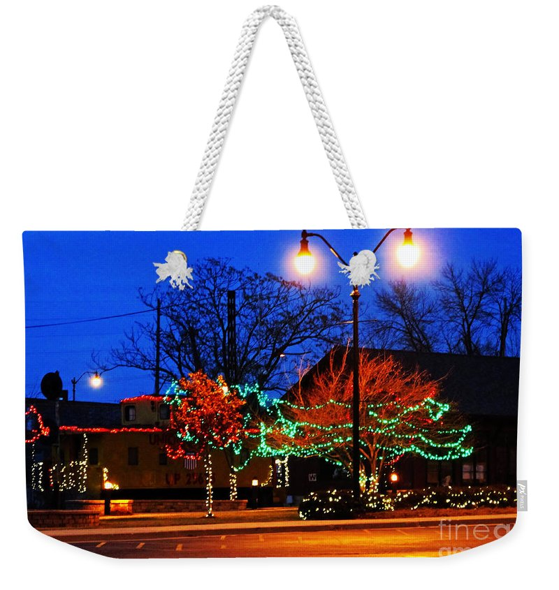 Christmas Weekender Tote Bag featuring the photograph Holiday Lights by Don Baker