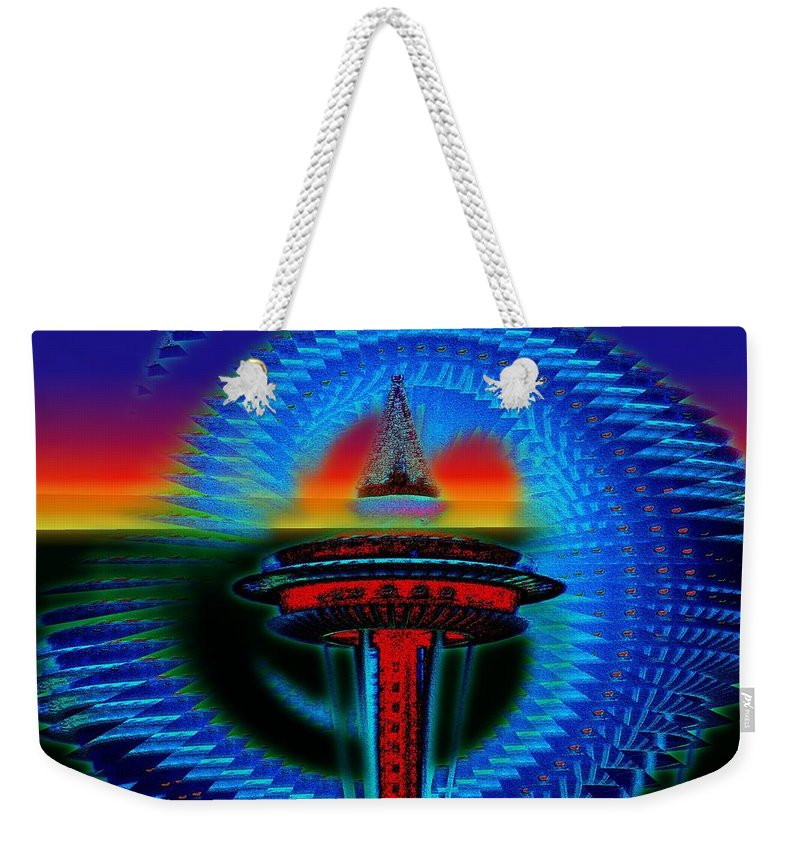 Seattle Weekender Tote Bag featuring the digital art Holiday Needle Illusion by Tim Allen