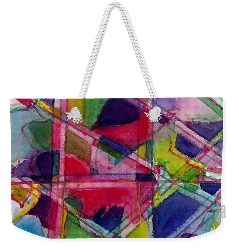 Abstract Weekender Tote Bag featuring the painting Holiday Rush by Jan Bennicoff