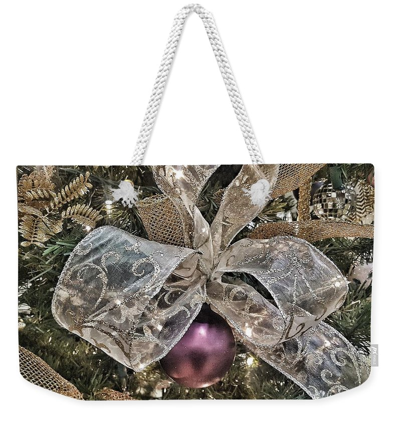 Holiday Weekender Tote Bag featuring the photograph Holiday Sparkle Bow by Rachel Hannah