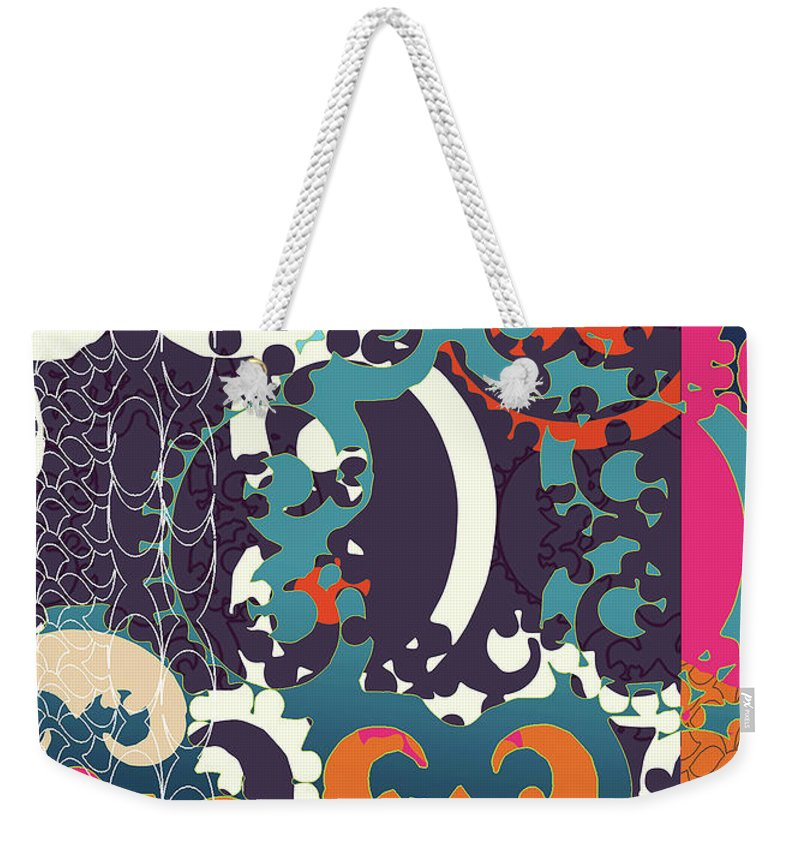 Festive Weekender Tote Bag featuring the digital art Holiday by Ceil Diskin