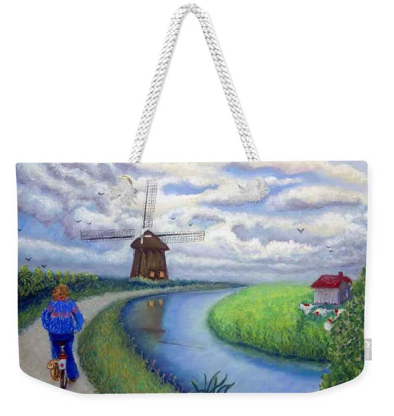 Biking Weekender Tote Bag featuring the painting Holland Windmill Bike Path by Minaz Jantz