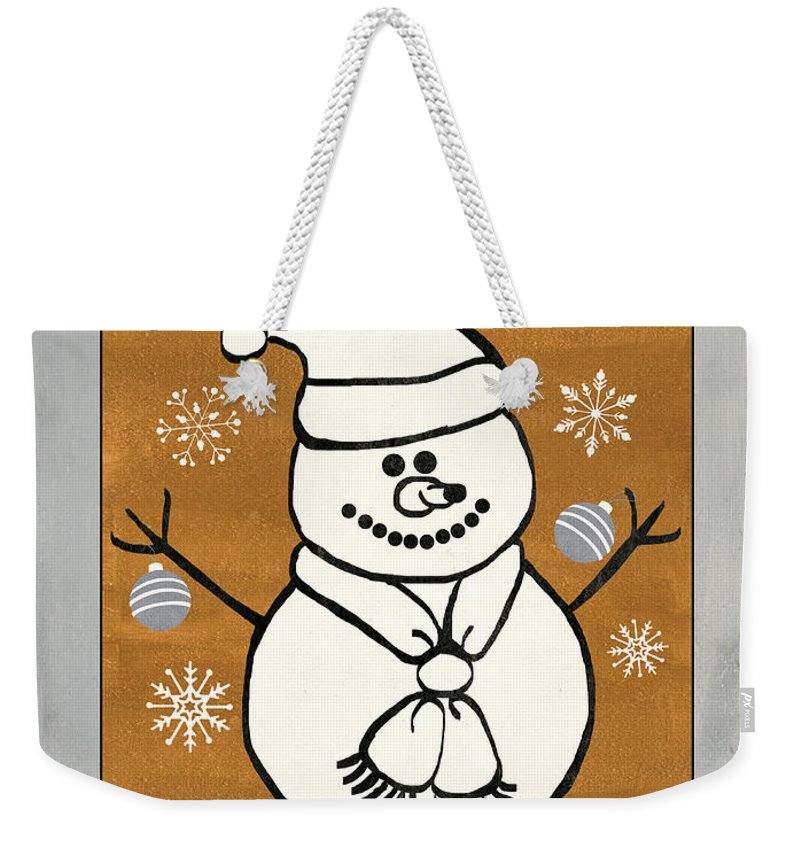 Snowman Weekender Tote Bag featuring the painting Holly Holly Xmas by Debbie DeWitt