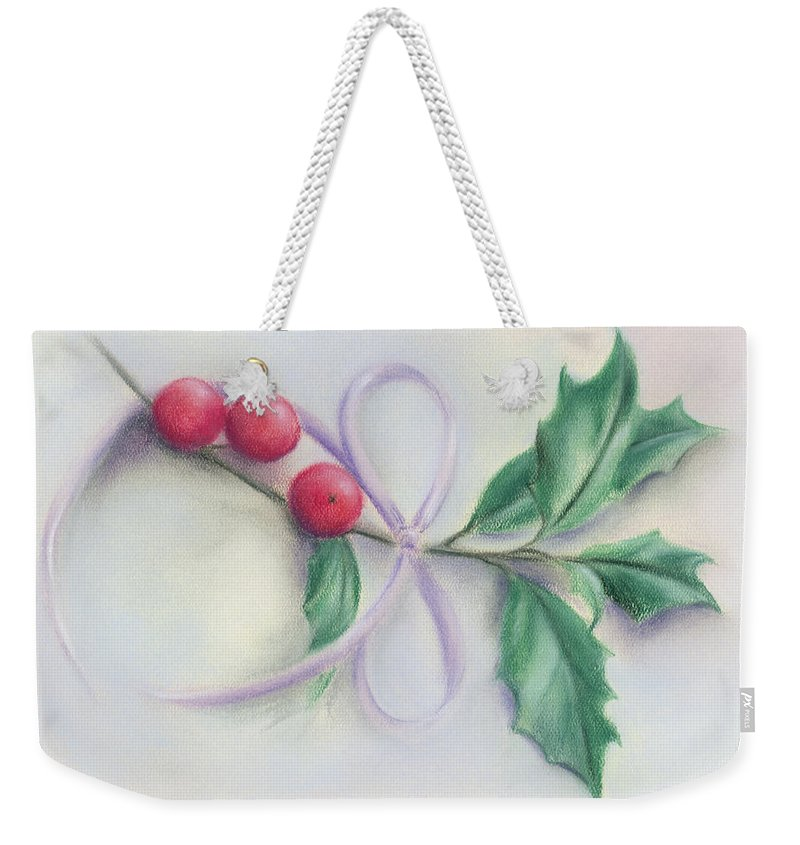 Botanical Weekender Tote Bag featuring the pastel Holly Sprig With Bow by MM Anderson