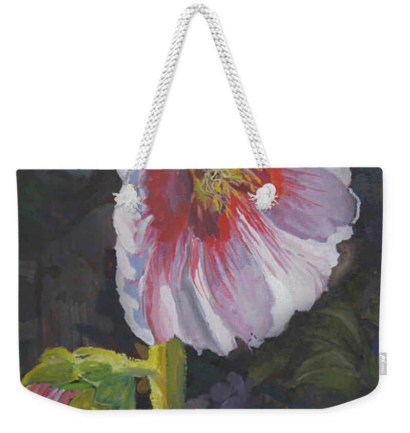 Flower Weekender Tote Bag featuring the painting Hollyhock by Heather Coen