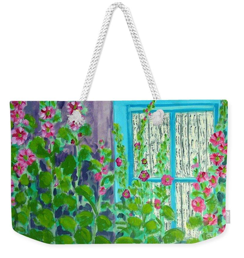 Hollyhocks Weekender Tote Bag featuring the painting Hollyhock Surprise by Laurie Morgan
