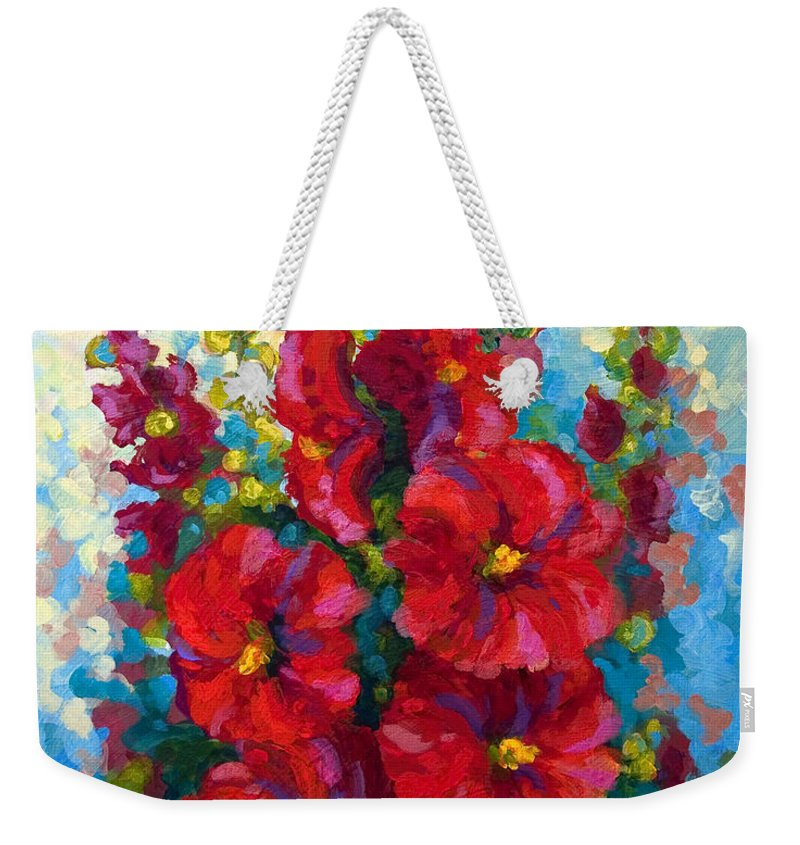 Floral Weekender Tote Bag featuring the painting Hollyhocks by Marion Rose