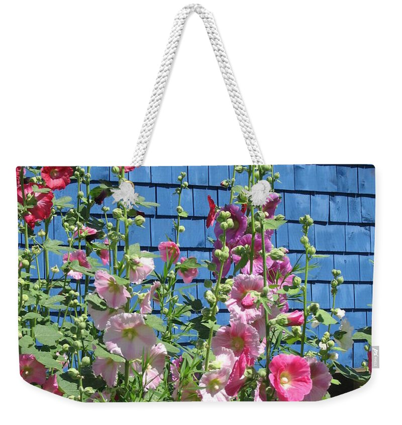 Flowers Weekender Tote Bag featuring the photograph Hollyhocks by Mary Ellen Mueller Legault