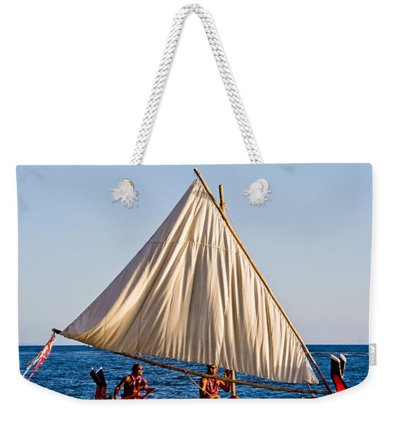 Pacific Weekender Tote Bag featuring the photograph Holokai - Pacific Islander Sailing Canoe by Nature Photographer