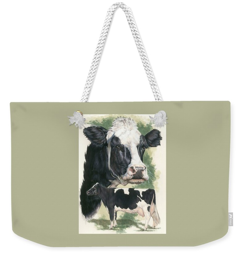 Cow Weekender Tote Bag featuring the mixed media Holstein by Barbara Keith