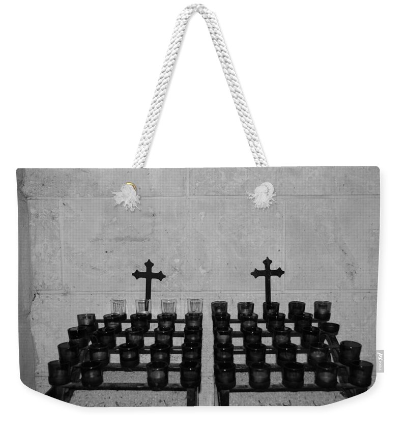 Black And White Weekender Tote Bag featuring the photograph Holy Candles.... by Rob Hans