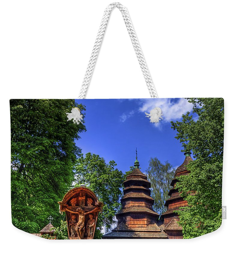 Church Weekender Tote Bag featuring the photograph Holy Wood by Evelina Kremsdorf