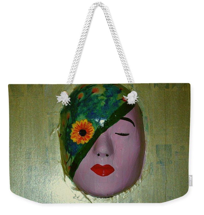 Gold Weekender Tote Bag featuring the painting Homage One by Laurette Escobar