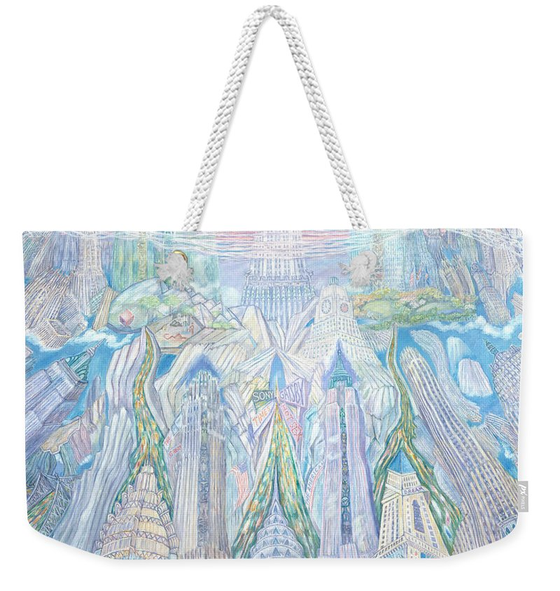 New York Cityscape Weekender Tote Bag featuring the painting Homage To New York And The Chrysler Building by Patricia Buckley
