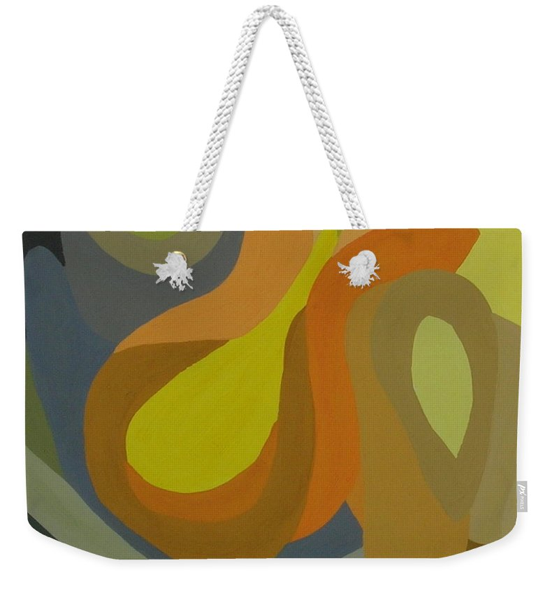 Abstract Weekender Tote Bag featuring the painting Homage To The 70's by Cori Solomon