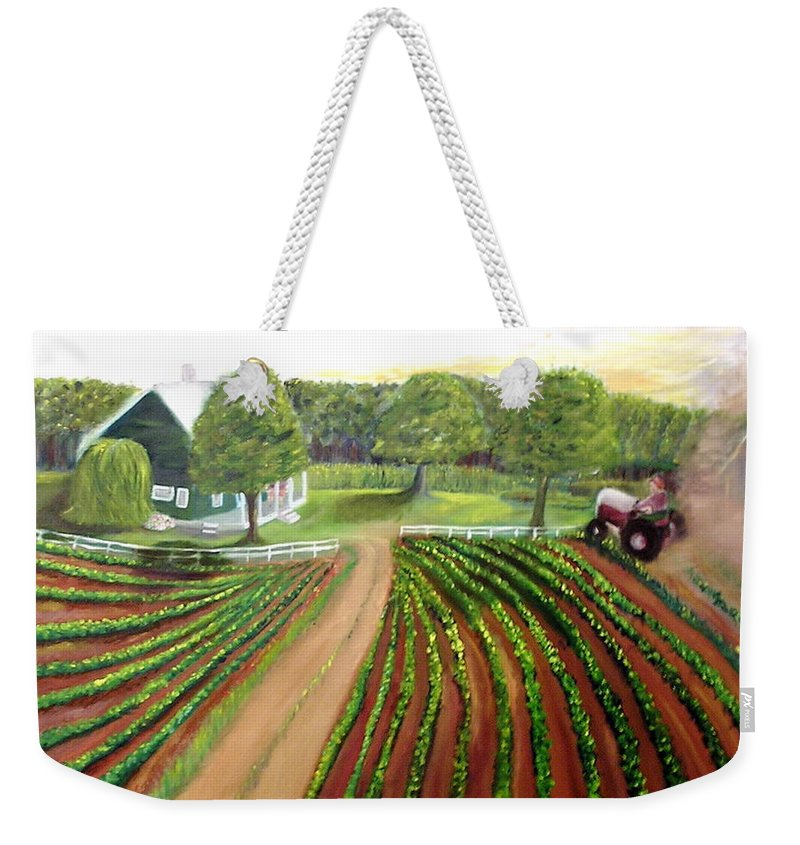 Farm Weekender Tote Bag featuring the painting Home Again by Tina Swindell