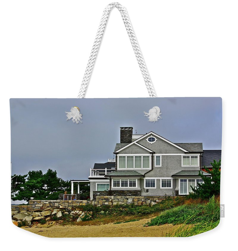 House Weekender Tote Bag featuring the photograph Home By The Shore by Diana Hatcher
