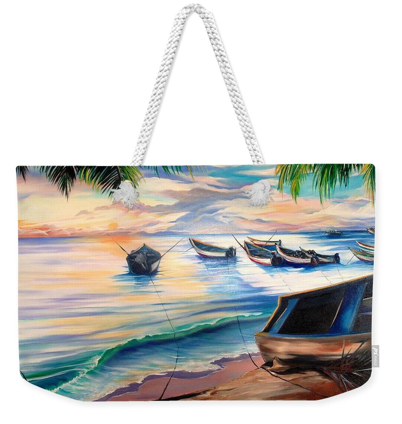 Ocean Painting Caribbean Painting Seascape Painting Beach Painting Fishing Boats Painting Sunset Painting Blue Palm Trees Fisherman Trinidad And Tobago Painting Tropical Painting Weekender Tote Bag featuring the painting Home From The Sea by Karin Dawn Kelshall- Best