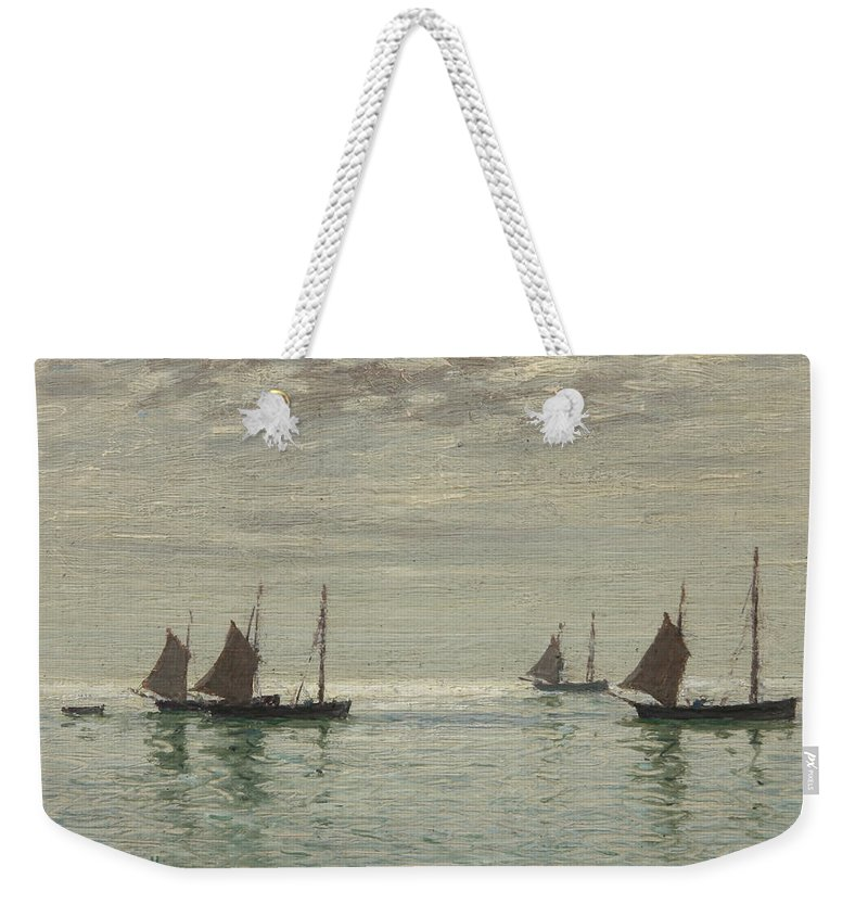 Home On The Morning Tide Weekender Tote Bag featuring the painting Home On The Morning Tide by Reginald Aspinwall
