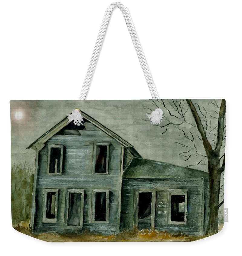Landscape Watercolor House Ruin Moon Trees Sky Weekender Tote Bag featuring the painting Home Sweet Home by Brenda Owen