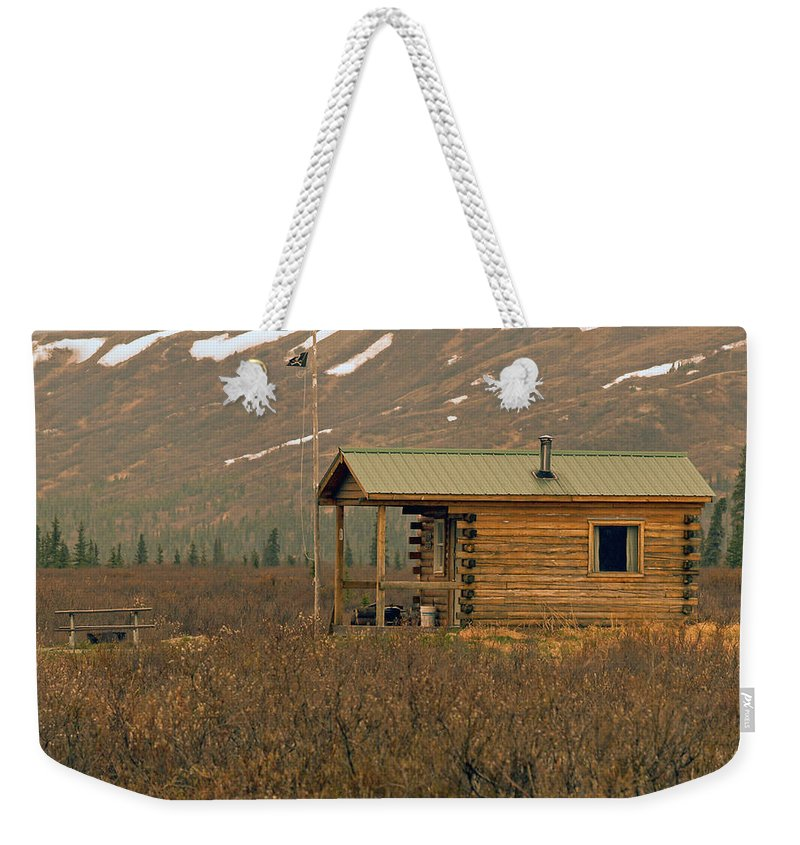 Log Cabin Weekender Tote Bag featuring the photograph Home Sweet Fishing Home In Alaska by Denise McAllister