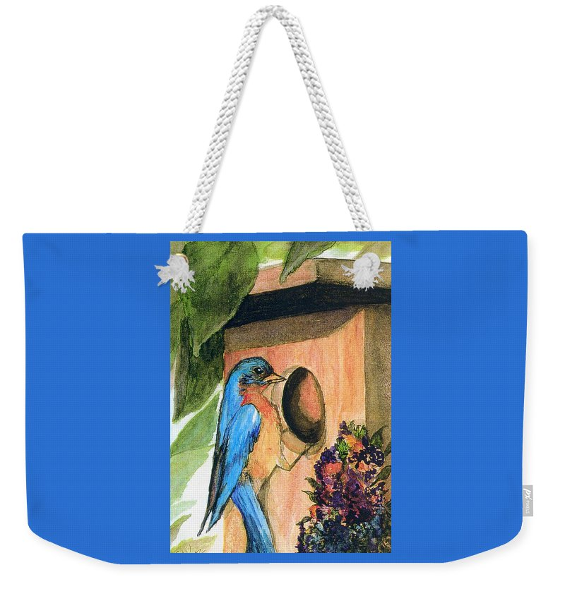 Bluebirds Weekender Tote Bag featuring the painting Home Sweet Home by Gail Kirtz